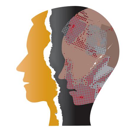 Schizophrenia depression male head. Ripped paper Male head silhouettes. Concept symbolizing schizophrenia, depression. Illustration