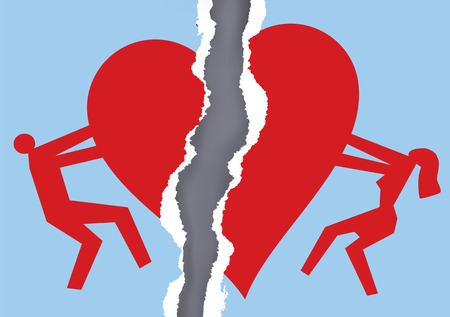 Divorced couple ripped paper with heart symbol. Ripped paper with man and woman silhouettes and broken heart icon symbolizing the end of love.
