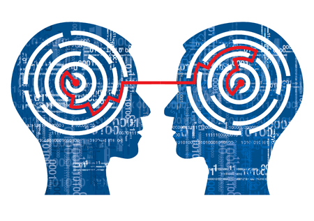 Internet sharing concept. Illustration of two Human Heads silhouettes with binary codes and maze. Vettoriali