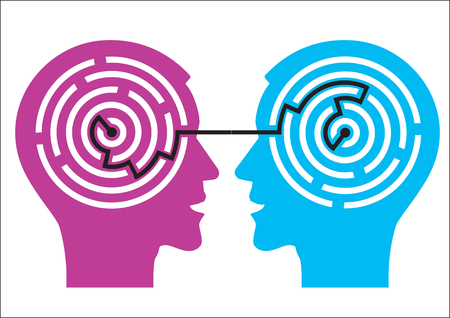 Labyrinth in the heads. Illustration of two male heads with maze symbolizing psychology.