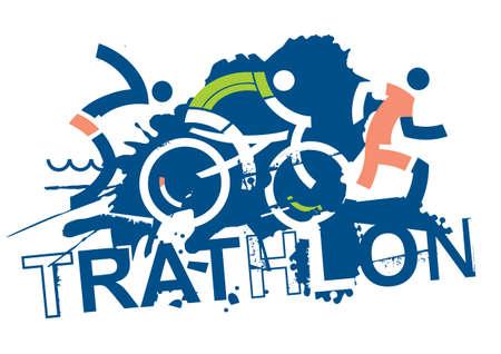 Three triathlon athletes on the grunge background with inscription triathlon vector available.