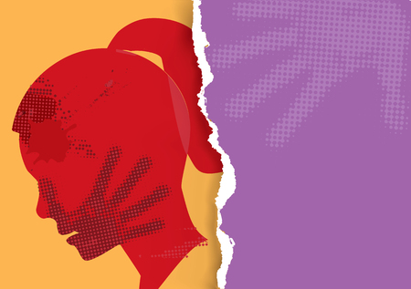 Violence against woman. Young Woman grunge silhouette with hand print on the face on torn paper background.