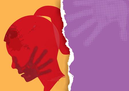 Przemoc wobec kobiety. Młoda kobieta grunge sylwetka z nadrukiem dłoni na twarzy na tle rozdartego papieru.