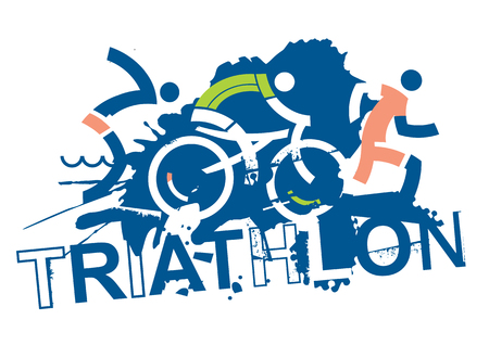 Triathlon race signs.  Three triathlon athletes on the grunge background with inscription triathlon. Vector available.
