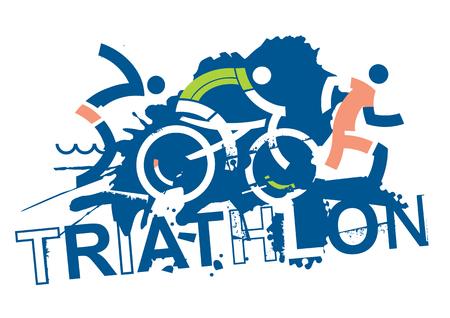 Triatlon race borden. Drie triatlonatleten op de grungeachtergrond met inschrijvingstriatlon. Vector beschikbaar.