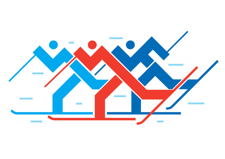 Cross-country skiers. Illustration of abstract stylized cross-country skiers. Vector available.  イラスト・ベクター素材