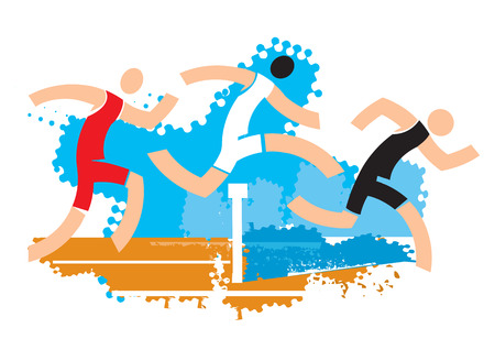 Runners on water ditch hurdle. Colorful stylized illustration of racers jumping over water ditch hurdle. Vector available. Banque d'images - 92912261