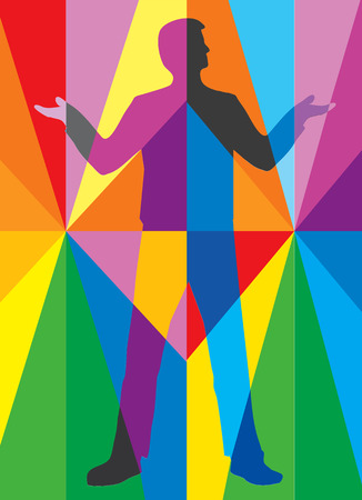Man in multicolored abstract space. Stylized male silhouette on a colorful striped background. Suitable for advertising for sale of colors. Vector available.
