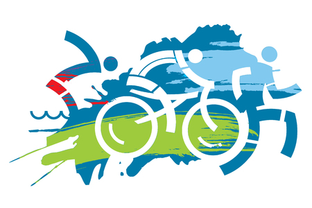 Triathlon race grunge stylized. Three triathlon athletes on the grunge background. Vector available. Vettoriali