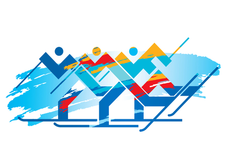 Cross-country Skiers competition. Grunge stylized Illustration of Cross-country Skiers. Vector available.  イラスト・ベクター素材