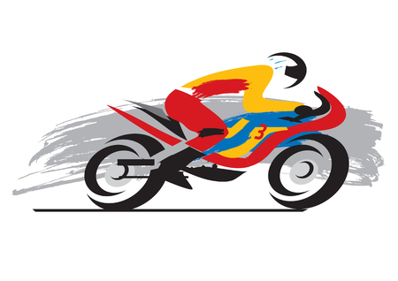 Motorcycle Racer. Grunge style expressive illustration of Motorcycle Racer.Vector available.