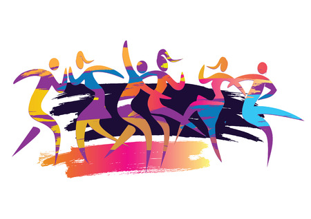 Dança de festa em discoteca. Ilustração colorida expressiva de três casais dançantes. Vector disponível.