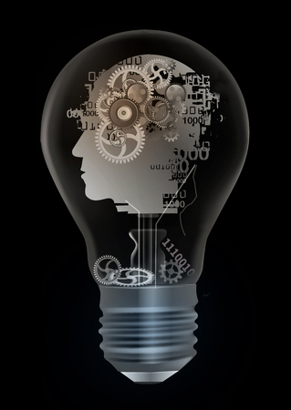 Burn out syndrome depression concept. Illustration of light bulb with stylized male head silhouette with gear symbolizing burnout syndrome and depression.