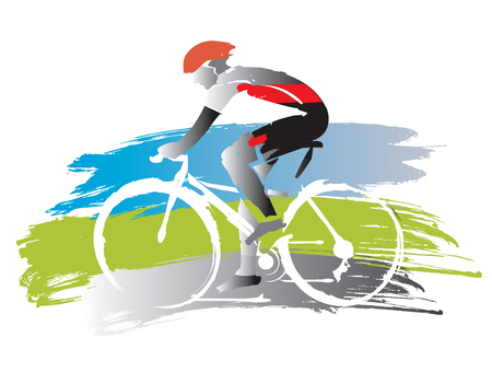 Bicyclist on grunge background. Expressive watercolor imitated illustration of road cyclist vector available.