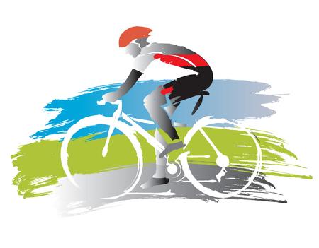 Rowerzysta na tło grunge. Ekspresyjna, imitowana akwarelą ilustracja wektora kolarza szosowego.