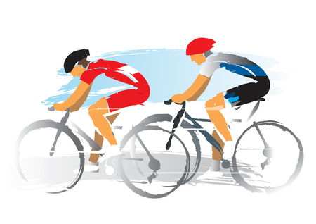 Road cyclists racers. Expressive watercolor imitate Illustration of two road cyclist. Vector available.