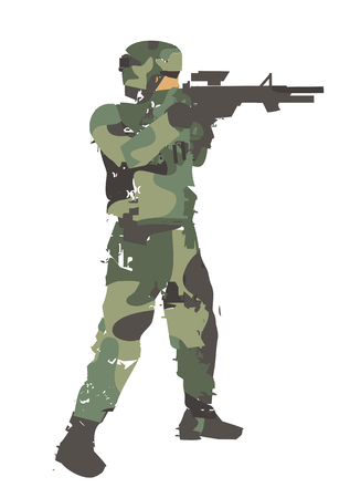 Soldier aiming a gun. Grunge stylized illustration of soldier with gun. Isolated on white background.