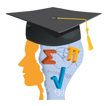 Graduation Student of math. Stylized male head silhouette with math symbols and mortarboard.