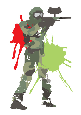 Paintball player in khaki uniform with marker gun. Grunge stylized illustration of male silhouette of Paintball sport player with protective mask and gun. Isolated on white background. Illustration
