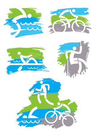 Fitness outdoor sports grunge icons. Set of Colorful grunge stylized icons with outdoor sport activities.Vector available.