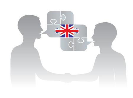 Engelse taal van het bedrijfsleven. Illustratie van twee succesvolle zakenlieden die handen op commerciële vergadering en toespraakbel schudden met de vlag van Groot-Brittannië. Vector beschikbaar.