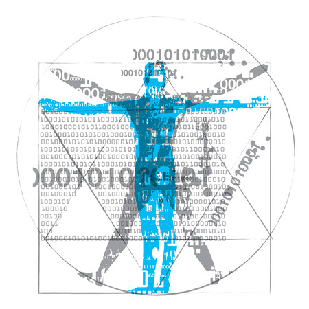 Vitruvian man of computer age. A grunge stylized drawing of vitruvian man with a binary codes symbolized digital age isolated on white background vector available. Illustration