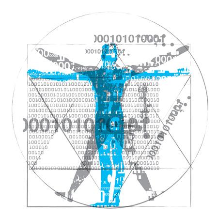Vitruviusman van computertijd. Een grunge gestileerde tekening van de Vitruviusman met binaire codes symboliseerde digitaal tijdperk dat op witte beschikbare vector wordt geïsoleerd als achtergrond.