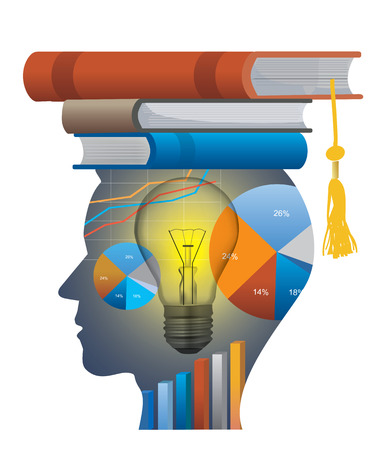 Successful student of economics. Stylized male head silhouette with economy charts and with books on the head symbolizing mortarboard. Vector available. Illustration