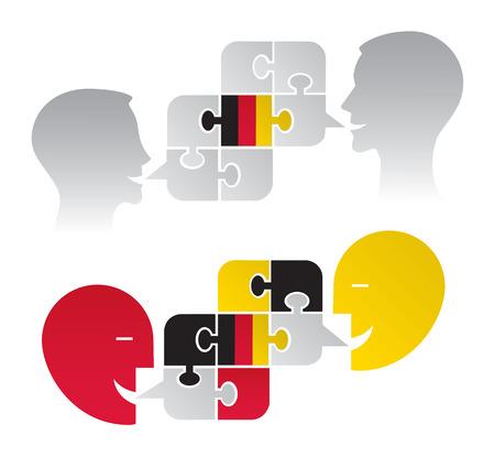 Duits lesonderwijs concept. Illustratie van twee versie van twee gestileerde mannelijke hoofden met puzzel tekstballon met Duitse vlag. Stock Illustratie