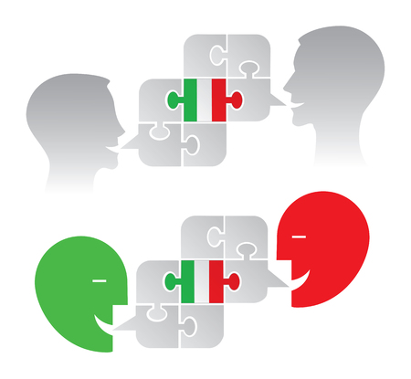 Italian lesson dialog.  Illustration of two version of two stylized male haeds with puzzle speech bubble with italian flag. Vector available.