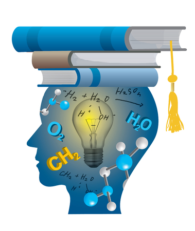 Successful student of chemistry. Stylized male head silhouette with chemistry symbols, formulas and with books on the head symbolizing mortarboard. Vector available.