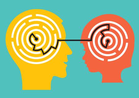 児童心理学者と子どもの概念。心理的な問題の解決を象徴する迷路を持つ男性と子供の頭の様式化されたイラスト。