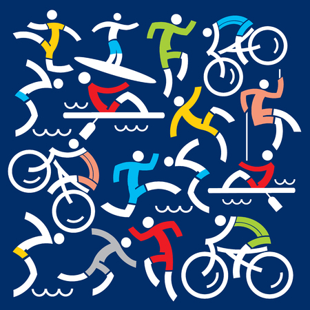 Outdoor sports fitness icons decorative background. Illustration of colorful fitness and outdoor sports symbols on dark blue background. Çizim