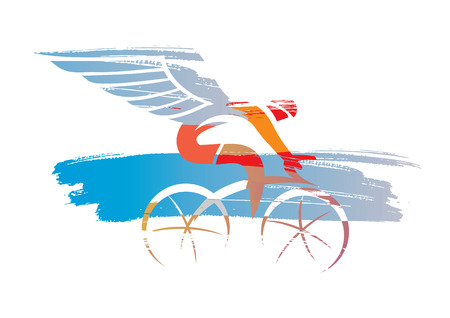 Cyclist with wings expressive stylized.  Colorful poetic illustration of cycling racer with wings. Vector available.