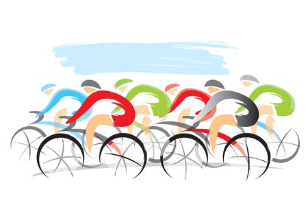 Bicycle race.  Stylized drawing of cyclists, isolated on the white background. Vector available.