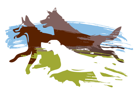 Running dogs on the meadow.  Expressive stylized illustration of three running dogs. Vector available.