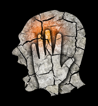 Headache pain migraine depression.  Male silhouette with Dry brown cracked earth symbolizing madness, Depression, Headache, schizophrenia. Man holding his head.