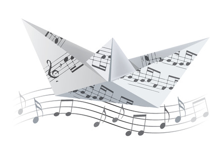 Origami boat on the wave with musical notes. White Paper boat with musical notes swinging on waves with musical notes. Poetic musical theme.Vector available.
