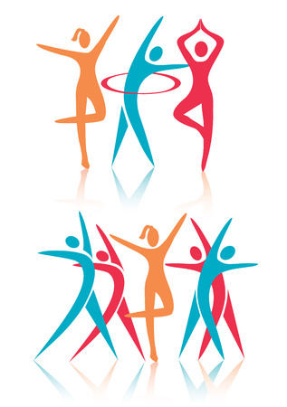 Fitness dance women icons. Stylized colorful icons with shadow. Woman fitness aerobics activities.Vector available.