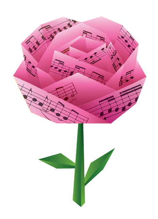 Pink  Origami rose with musical notes.  Paper pink rose with musical notes. Vector available.