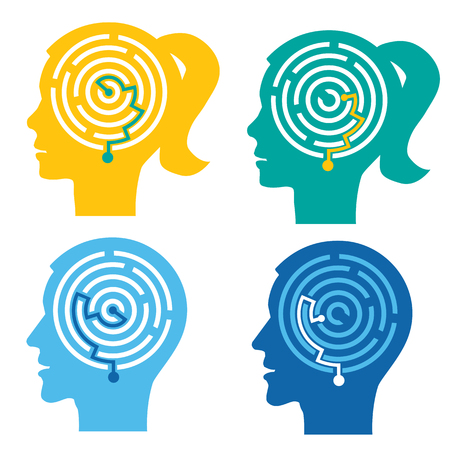 Psychological test, Labyrinth in the heads. Four male and female stylized head silhouettes with maze. Stock Illustratie