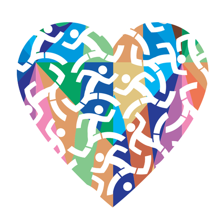 I love running, colorful heart.  colorful heart with icons of running people. Vector available.