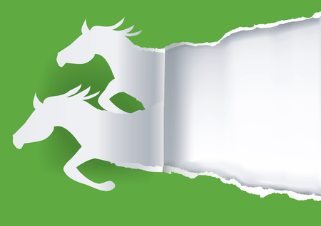 Two paper horses ripping paper. Illustration of paper silhouette of two running horses ripping paper. Vettoriali