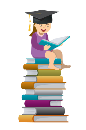 Girl wearing a mortar board sitting on a pile of books.