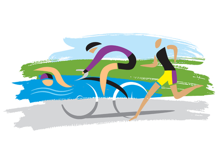 Triathlon racers,three discipline of the triathlon. Stylized drawing of Three triathlon athletes on the grunge background. Vectores