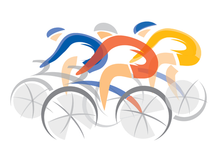 Road cycling competitors. Three racing cyclists. Colorful stylized illustration. Vector available.