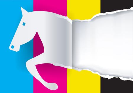 Cavallo sull'illustrazione di carta colorata strappata di vettore Archivio Fotografico - 98488432