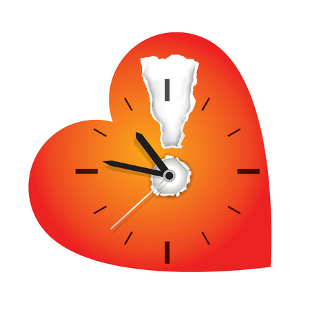 Time limit on love concept. Red heart symbol with ripped paper and clock. Vector illustration.