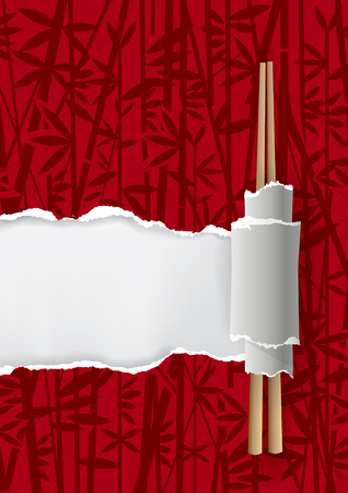 China restaurant menu background.  Ripped paper with bamboo motive and Chinese chopsticks. Place for your text or image. Vector available. Ilustracja