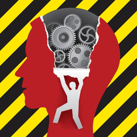 Male Head under construction, psychology concept Male head in profile with gear and male silhouette ripping paper background. Stock Illustratie